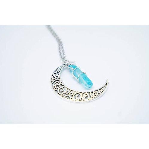 Aquamarine Healing Moon Necklace