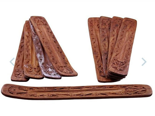 """10"""" Carved Wood Boat Incense Burner"""