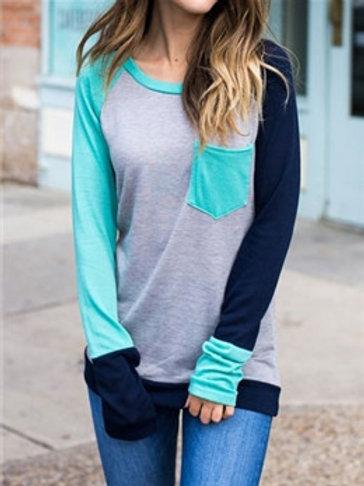 Color Block Pocket Long Sleeve Baseball T-Shirt Tee