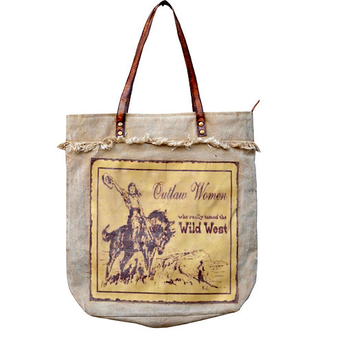 """Outlaw Women Wild West Tote 16.5"""" X 16.5"""""""