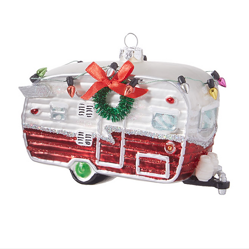 "5"" GLASS CAMPER ORNAMENT"