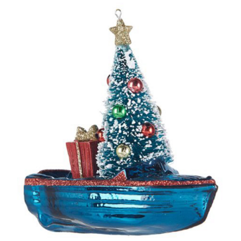 """4.75"""" Glass Boat with Tree Ornament"""