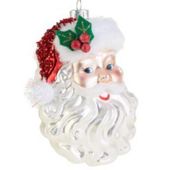 "5"" Glass Santa Ornament"