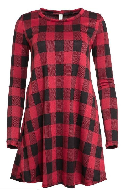 BUFFALO PLAID PRINT SWING DRESS WITH SIDE POCKET