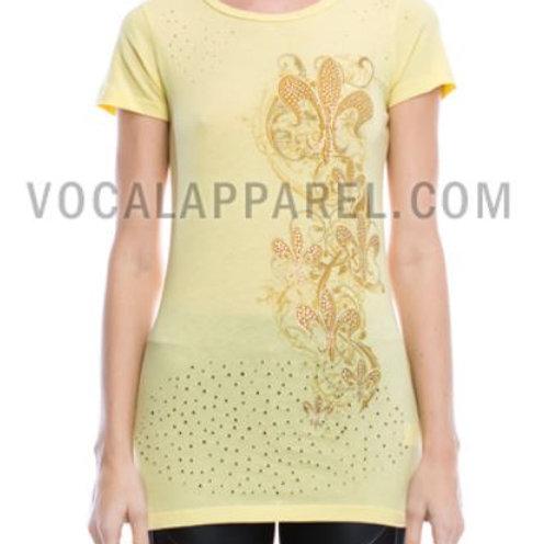 R-neckline Short Sleeve Junior Top w/ Print & Stone Details