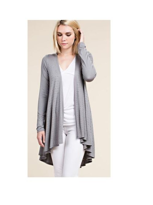 Long Sleeve Gray Cardigan with Stones