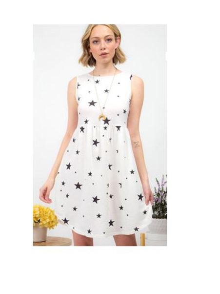 White/Black Star Print Sleeveless Dress