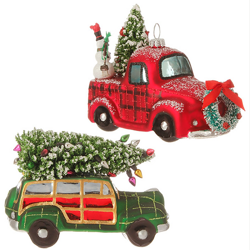 "5"" GLASS TRUCK WITH TREE"