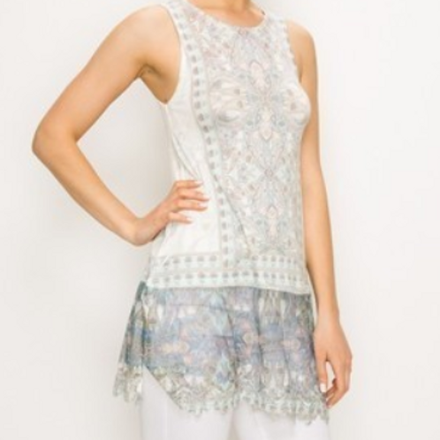 TANK TOP WITH LACE LAYER AND PRINT - Ivory