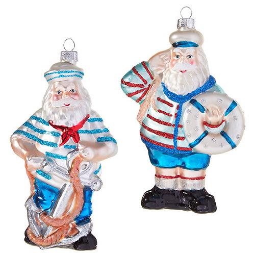 "5""Glass Nautical Santa"