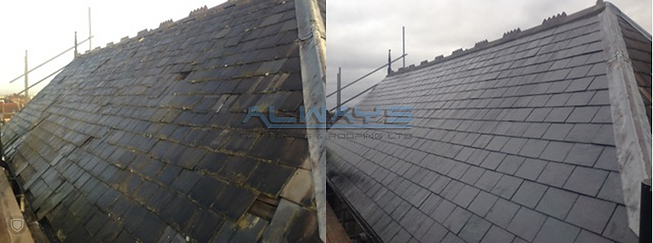 Natural Slate Roof - Before and After WM