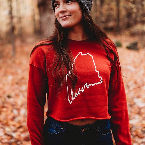 Maine Love Cropped Fleece Sweater