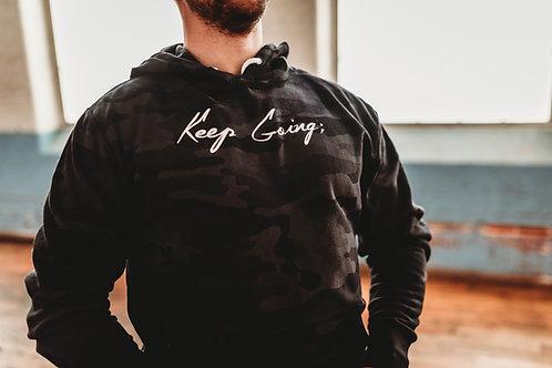 Keep Going; Black Camo Unisex Hoodie V1