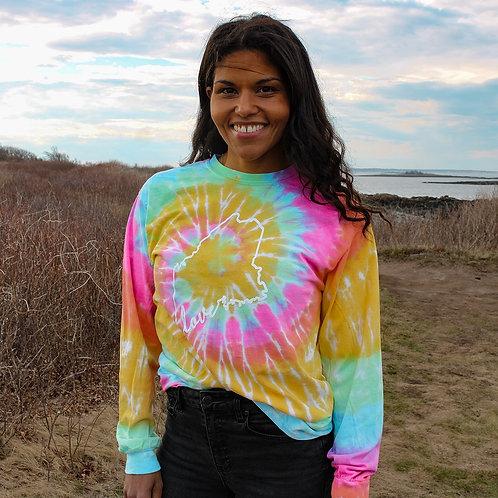 Unisex Tie Dye Maine Love LS Shirt