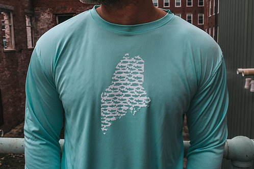 Maine State Fishing Unisex Cool Dry LS Shirt