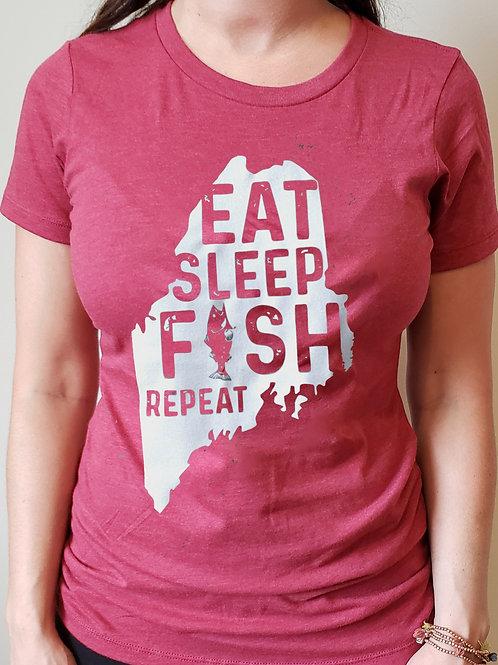 Eat Sleep Fish Repeat Women's Shirt