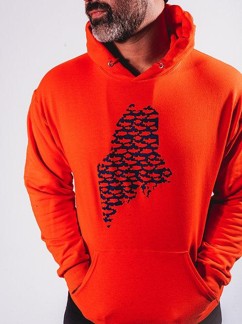 Maine State Unisex Fishing Hoodie-Orange Flag