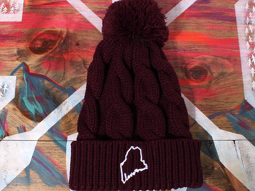 Maine Love Cable Knit Pom Beanie