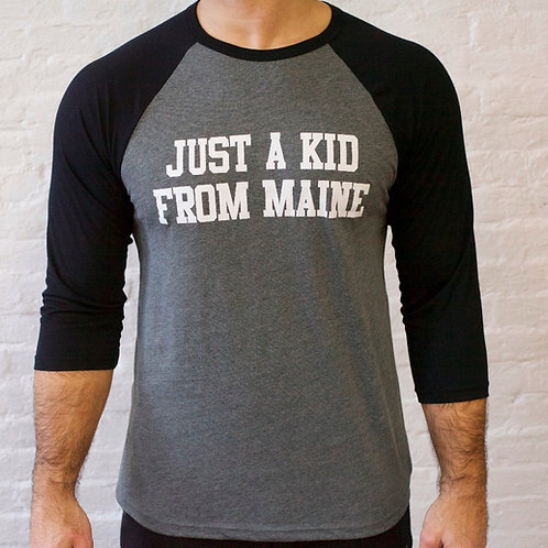 Men's Just a Kid From Maine-3/4 Baseball Shirt