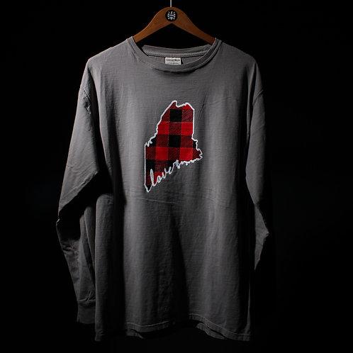Maine Love Plaid Unisex Dyed LS Shirt