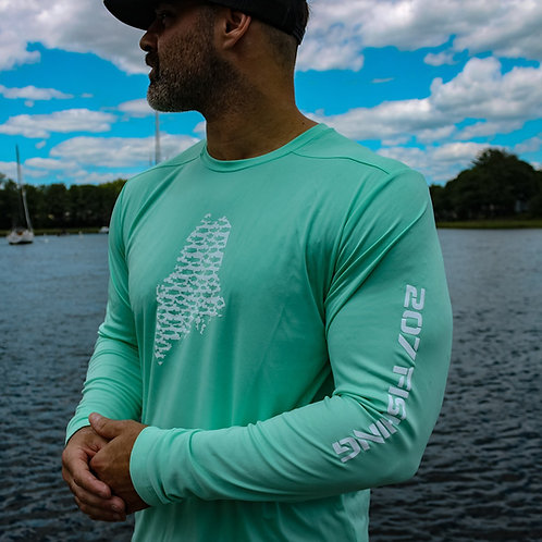 207 Series Maine State Fishing Unisex Cool Dry LS Shirt