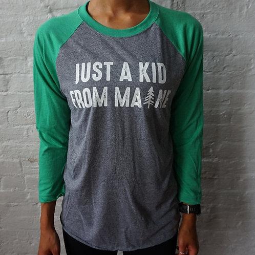 Women's Just a Kid From Maine-3/4 Baseball Shirt