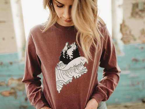 The Maine Wave Dyed Unisex LS
