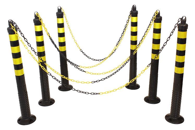 6 flexible black posts, 10 m chain (Polyurethane)