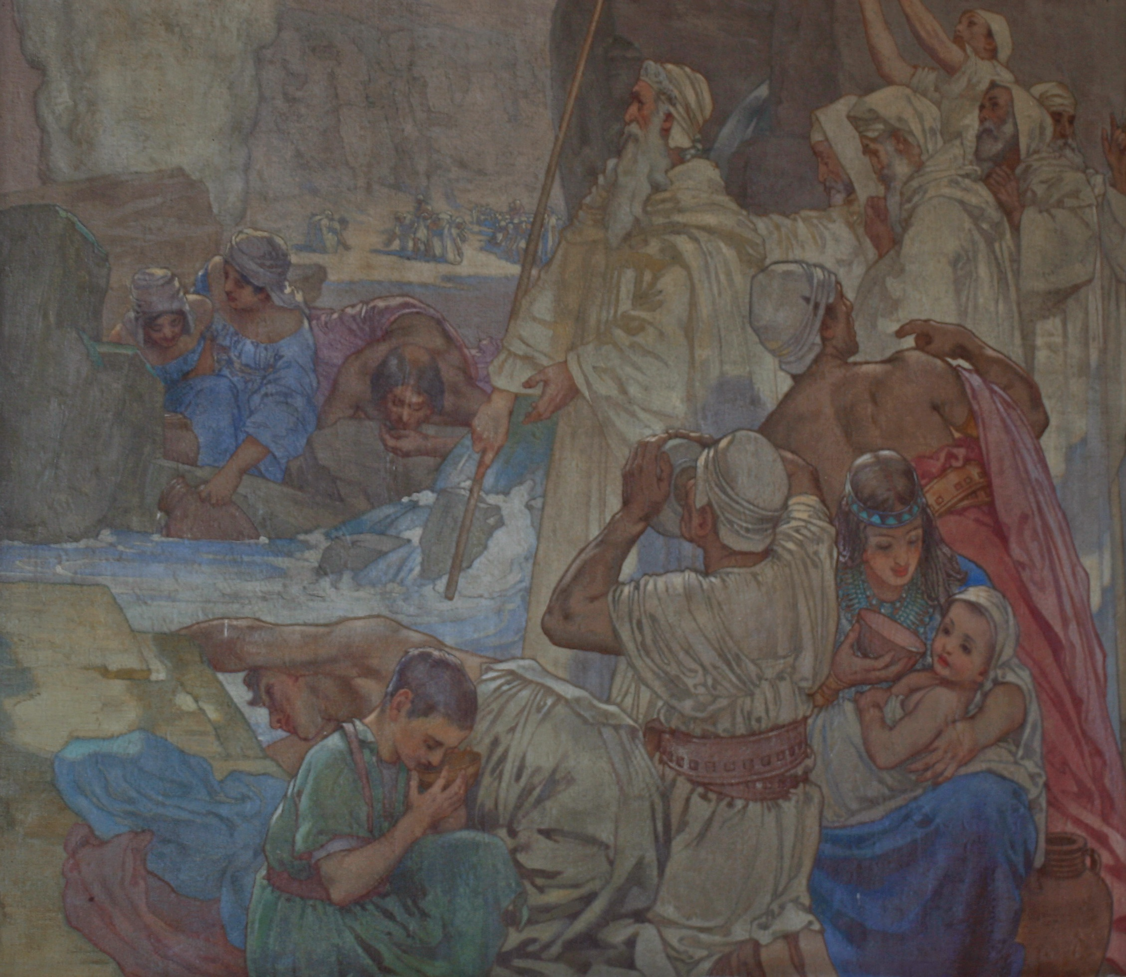 Moses strikes water from the rock