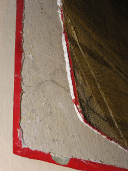 delamination and loss of paint, lower left section of Nativity scene  May 2008 normal light