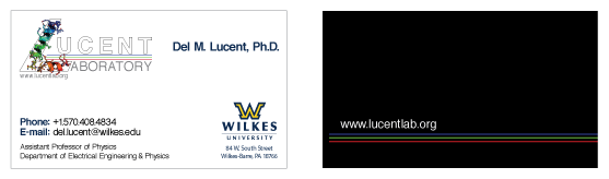 Lucent Laboratory Business Card