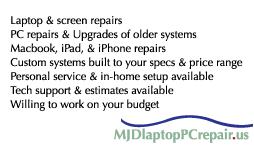 MJD Laptop & PC Repair Card Back