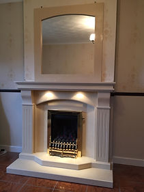 Westminster H&H in marfil with matching marble mirror & Gem gas fire