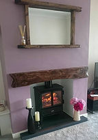 Optimyst stove with Rivern slate hearth & oak beam