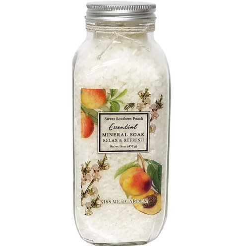 Peach Mineral Soak 16 oz (glass)