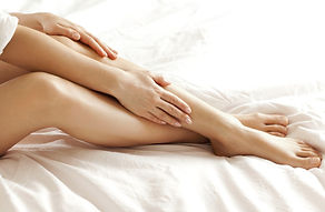Women's legs getting laser hair removal