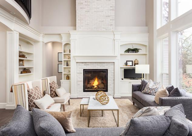 Beautiful living room interior with hard