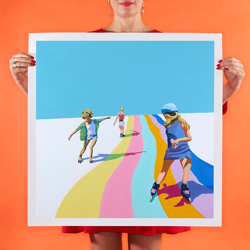 SKATE THE RAINBOW Large (Unframed) Signed Limited Edition Giclee Print