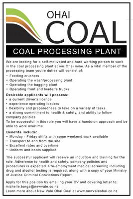 Coal Processing Plant Operator - Ohai Coal