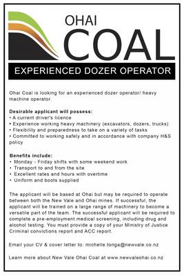 Experienced Dozer Operator - Ohai Coal