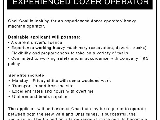 Two Positions Available at Ohai Mine