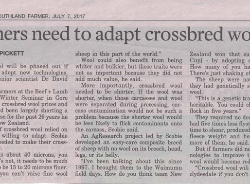 Farmers need to adapt crossbred wools