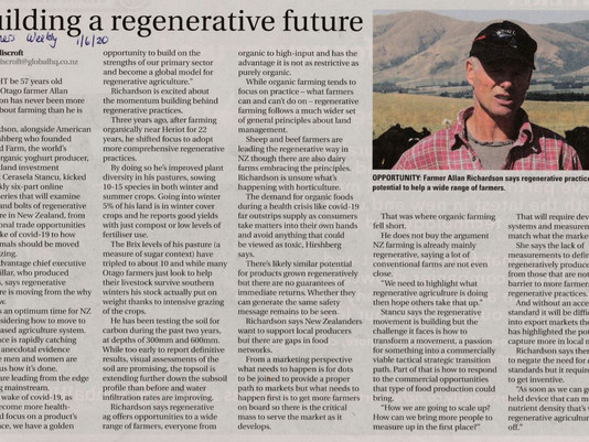 Allan Richardson spoke to Farmer's Weekly about building a regenerative future. Read article here...