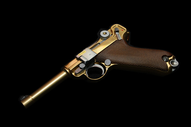 WE-Tech Luger Golden P08 Airsoft Pistol