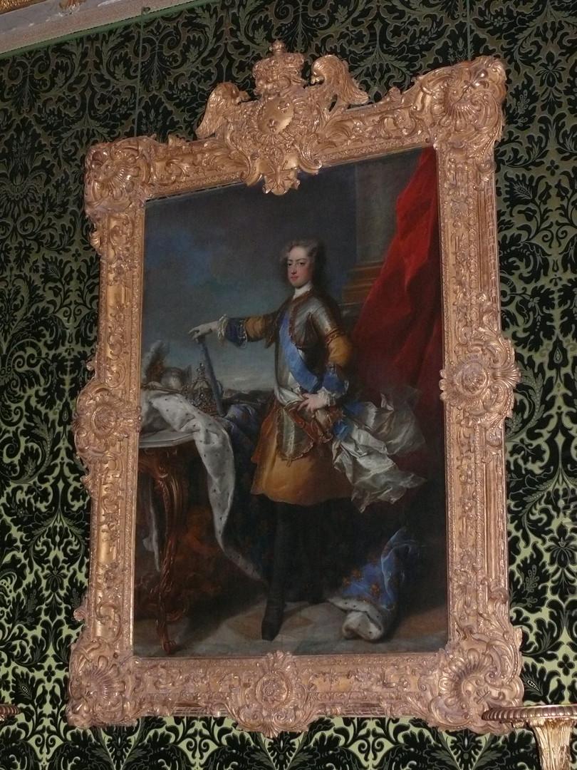 Restauration du cadre du portrait de Louis XV par Van Loo, Château de Versailles, 2009.