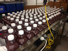 One litre fruit bottles on the production line.