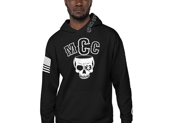 MCC Pull Over Hoodie (White on Black)