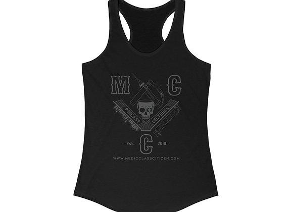 MCC Women's Racerback (Charcoal on Black)