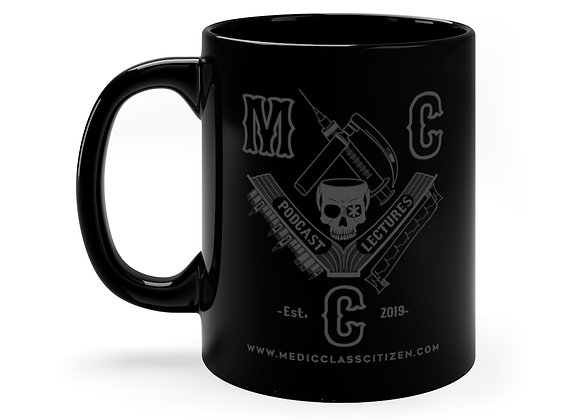 11 oz MCC Coffee Cup, Full Logo (Charcoal on Black)