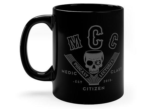 11 oz. MCC Coffee Cup, Basic Logo (Charcoal on Black)